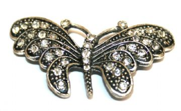 1pce x Antique silver plated butterfly pendant with rhinestone 52*30mm - S.F - 3004024